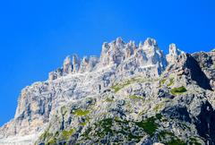 beautiful landscape of dolomites. mountains and trees in summer season - stock photo