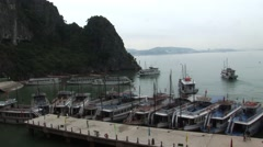 Halong Bay Boats Docked Stock Footage