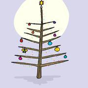Christmas tree in moonlight Stock Illustration