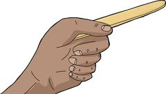 Isolated hand with tongue depressor Stock Illustration