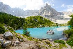 lake of sorapis - wonderful blue colors of water - stock photo