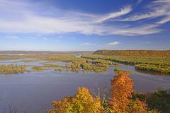 Fall colors on a midwest river Stock Photos