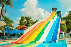 People play slide at siam park city water park in bangkok Stock Photos