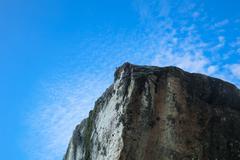 Cliff edge and blue sky Stock Photos