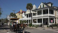 Tourists on mule and carriage tour, south battery, charleston, sc, usa Stock Footage