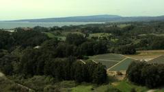 Stock Video Footage of Aerial Coastal Farming agricultural Santa Cruz USA