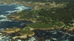 Aerial Cypress Point Golf Course Monterey California USA Stock Footage
