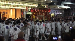 Crowd Of Men Circle Float In Japanese Parade Kyoto Gion Festival With Audio 4 Stock Footage