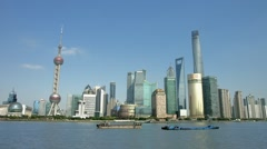 Panorama of Shanghai Skyline in Pudong District, China, BlackMagic 4K Camera - stock footage