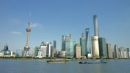 Stock Video Footage of Panorama of Shanghai Skyline in Pudong District, China, BlackMagic 4K Camera