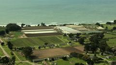 Aerial Coastal Farming crops agricultural Monterey USA Stock Footage
