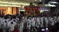 Crowd Of Men Circle Float In Japanese Parade Kyoto Gion Festival With Audio HD Footage
