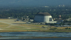 Aerial Moffett Federal Field NASA Ames Research Center USA Stock Footage