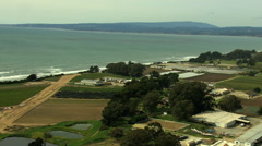 Stock Video Footage of Aerial Coastal Farming crops agricultural Santa Cruz USA