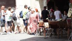 People at Medina of Fes in Morocco Stock Footage