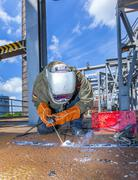 welder at work at the famous industry site in neuenkirchen - stock photo