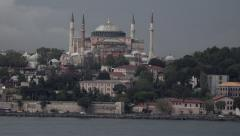 Istanbul Hagia Sophia Mosque old city traffic from boat 4K 006 Stock Footage