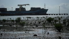 Africa Bissau seaport Guinea Bisseau Stock Footage