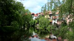 CZECH REPUBLIC CESKY KRUMLOV RIVER Stock Footage