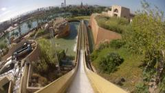 Final Drop of Water Flume Ride Stock Footage