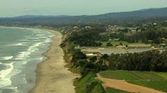 Aerial Coastal Farming crops Monterey USA Stock Footage