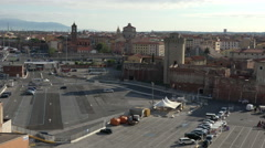 Livorno Italy Port parking city 4K 004 Stock Footage
