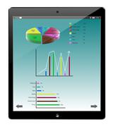 tablet similar ipad and pie graph business, vector - stock illustration