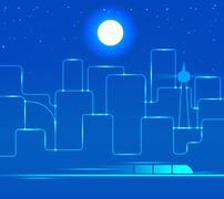light line of city abstract background - stock illustration