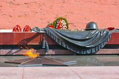 eternal fire in memory of victims in the world war - kremlin - moscow russia - stock photo