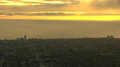 Aerial sunset California Pacific Coastline San Francisco USA Stock Footage