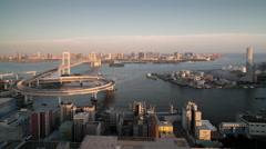 Tokyo japan city rainbow bridge skyline harbour 4k Stock Footage