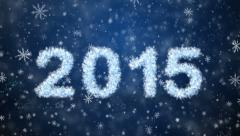 Inscription 2015 from snowflakes with snow and stars Stock Footage