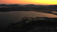 Aerial sunset San Quentin San Francisco Bay USA - stock footage