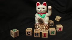 LUCKY ASIAN CAT - Macro dolly past waving Japanese Chinese cat Stock Footage
