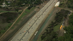 Aerial Highway San Francisco commuter city California USA Stock Footage