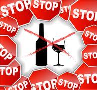 warning alcohol - stock illustration