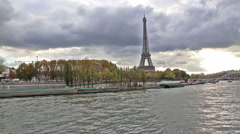 Paris France historical center river view Stock Footage