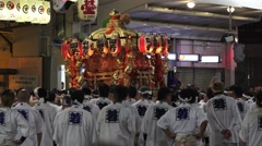 Japanese Lantern Float Carried By Group Of Men Gion Festival Kyoto 4K Stock Footage