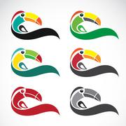 vector image of an toucan design on white background - stock illustration