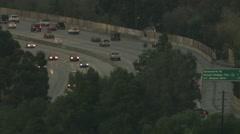 Aerial dusk vehicle traffic rain commuter California USA Stock Footage