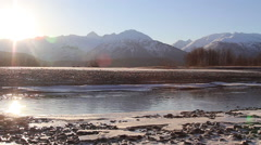 Spawning Alaska Salmon Pan with Mountains Behind Stock Footage