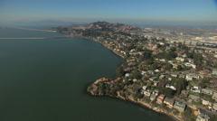Aerial Oil Terminal tanks San Francisco California USA Stock Footage