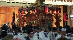Japanese Lantern Float Carried By Group Of Men Gion Festival Kyoto With Audio 4K Stock Footage