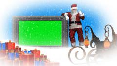 Christmas, snowfall, animated santa claus - additional to green screen Stock Footage
