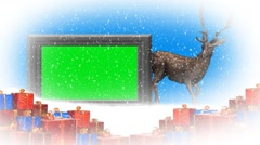 Christmas with animated reindeer - additional to green screen Stock Footage