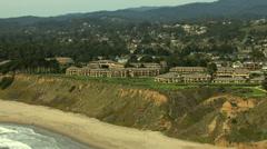 Stock Video Footage of Aerial Coastline Waterfront Santa Cruz residential USA