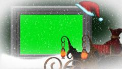 Christmas, snowfall, animated santa hat - additional to green screen Stock Footage