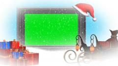 christmas, snowfall, animated santa hat - additional to green screen - stock footage