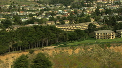 Aerial Coastline Resort Waterfront Monterey USA Stock Footage