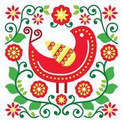 Folk art vector pattern with bird and flowers Stock Illustration